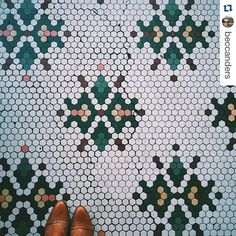 Because I can't resist vintage hexagon tile floors! Hexagon Tiles, Hexagon Quilt, Mosaic Tiles, Vintage Tile Floor, Penny Tile Floors, Tile Patterns, Floor Patterns, English Paper Piecing, Tile Design