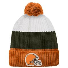 Cleveland Browns Youth Vintage Ribbed Cuffed Knit Hat - White/Orange