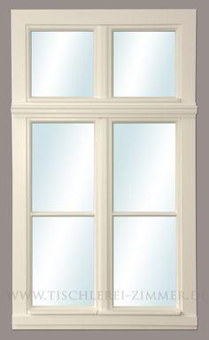 ... ein traditionelles Holzfenster mit klassischer 3 Teilung - zweiflügelig mit Oberlicht