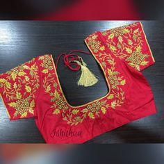 Wedding Saree Blouse Designs, Half Saree Designs, Pattu Saree Blouse Designs, Blouse Designs Silk, Lehenga Blouse, Maggam Work Designs, Simple Blouse Designs, Work Blouse, Maggam Works