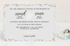 """Starlight"" - Modern, Elegant Foil-pressed Wedding Invitation Petite Cards in Kraft by Saltwater Designs."