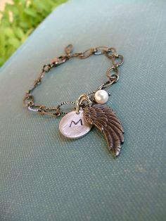 www.MyBellaMarketplace.com  #MyBellaMarketplace  Angel Baby Born With Wings Custom Hand Stamped Angel Wing Infnant Loss Charm Bracelet by MyBella