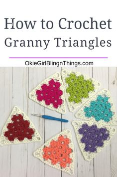 How to Crochet Granny Triangles – OkieGirlBling'n'Things – Granny Square Granny Square Crochet Pattern, Crochet Squares, Crochet Motif, Diy Crochet, Crochet Crafts, Double Crochet, Crochet Stitches, Crochet Projects, Crochet Patterns
