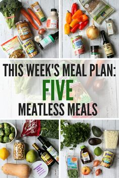 Weeknight Meatless Meal Plan: Easy Vegetarian Meal Plan for Busy Weeknights Family Vegetarian Meals, Vegetarian Recipes Easy, Clean Eating Recipes, Real Food Recipes, Healthy Recipes, Veggie Recipes, Eating Healthy, Vegetarian Weekly Meal Plan, Healthy Eats
