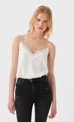Camisole top - Women's fashion | Stradivarius United States Shirt Blouses, Shirts, Guess Jeans, Blouses For Women, Balmain, Calvin Klein, Camisole Top, Tommy Hilfiger, Underwear