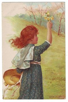 Vintage postcard illustrated by Harriett Mary Bennett- English - late 1800's early 1900's.-girl with daffodils