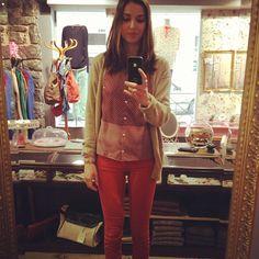 Look du jour bonjour!!!  Gilet Virginie Castaway, blouse Mademoiselle Tara (-50%), slim orange Cimarron (nouvelle collection), boots Mellow Yellow, bague hibou Vadi Jewels... - @aupigeonnier- #webstagram