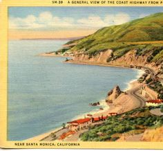 A General View of the Coast Highway from Palisades Above Castle Rock (1) :: Eric Wienberg Collection of Malibu Matchbooks, Postcards, and Collectables