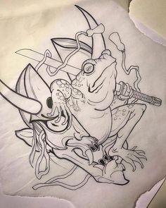 japanese tattoos for strength Japanese Drawings, Japanese Tattoo Art, Japanese Tattoo Designs, Frog Tattoos, Body Art Tattoos, Sleeve Tattoos, Stencils Tatuagem, Tattoo Stencils, Irezumi Tattoos