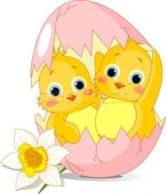 Two Easter chickens hatched from egg - ilustração de vetor por Anna Velichkovsky (Dazdraperma) - Stockfresh #753737