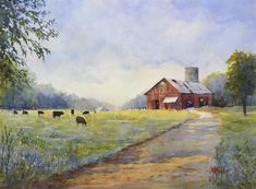 Black Cows and Red Barn by Judy Mudd Watercolor ~ 12 x 16 Watercolor Pictures, Watercolor Artists, Watercolor Landscape, Landscape Art, Landscape Paintings, Watercolor Paintings, Watercolor Ideas, Watercolor Techniques, Watercolor Cards