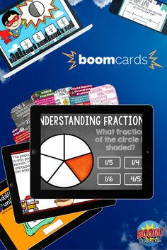 Teacher-made self-grading Boom Cards save time. No printing, no laminating, no cutting. Use on an Activboard or Smartboard to teach a concept. Assign decks for practice, assessment and test prep. Check out the fractions Boom Cards available for third, fourth and fifth grade.