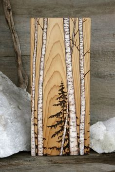Birch Trees Art Block Wood burning -- with a little paint and Dakota& wood burning, we could totally make this! Birch Trees Art Block Wood burning -- with a little paint and Dakotas wood burning, we could totally make this! Wood Burning Crafts, Wood Burning Patterns, Wood Burning Art, Wood Crafts, Wood Burning Projects, Art Crafts, Into The Woods, Birch Tree Art, Birch Bark