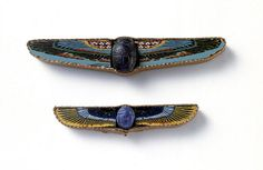 Romano-Egyptian Glass and Lapis Lazuli Scarabs with Mosaic Glass Wings    Glass, mosaic glass, and lapis lazuli, 1st century B.C.E./C.E.