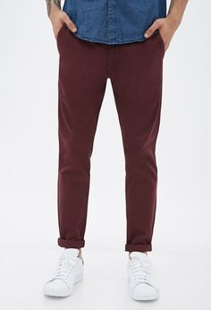 $22, Burgundy Chinos: 21men 21 Four Pocket Cotton Chinos. Sold by Forever 21. Click for more info: https://lookastic.com/men/shop_items/143391/redirect