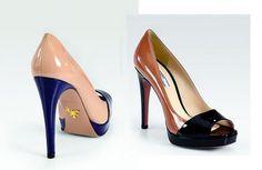 Bicolor Patent Leather Peep Toe Pumps.  Way classier than a regular peep toe...