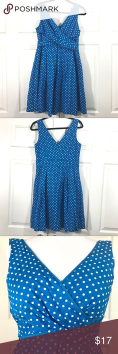 NINE WEST Blue Polka Dot Cross Body Midi Dress NINE WEST Blue Polka Dot Cross Body Midi Dress in like new condition. True blue cotton feeling fabric, fully lined, Hidden zipper in the back with hook and eye closure. Beautifully tailored! Nine West Dresses Midi