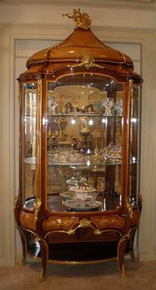 "A massive Louis XV style Display Vitrine by Krieger. Stamped Krieger Paris.19th century.Antoine Krieger, ébéniste (1804-1869).   Height: 8ft. 10"" inches, width: 58"" inches, width: 21"" inches"