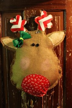 diy Reindeer Burlap Door Hanger with green bowknot - ribbon and fabric, chevron, button, wire - reindeer: Are you getting enough diy burlap owl door hanger to show?? By sanneun - LoveItSoMuch