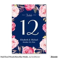 Pink Floral Wreath Navy Blue Wedding Table Number Card