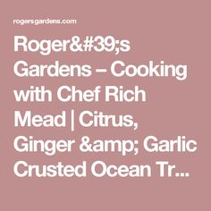 Roger's Gardens –   Cooking with Chef Rich Mead | Citrus, Ginger & Garlic Crusted Ocean Trout with Quinoa & Kale Salad