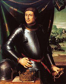 Retrato de Alfonso V de Aragón, monarca en el cual esta representado en una batalla con su armadura.