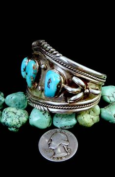 RUSTIC 48g Vintage Navajo Sterling Silver Cuff Bracelet w 3