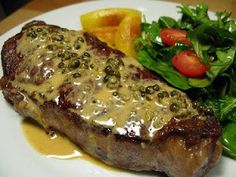 Get Steak au Poivre Recipe from Food Network Steak Au Poivre, I Love Food, Good Food, Yummy Food, Food For Thought, Meat Recipes, Cooking Recipes, Beef Casserole, Beef Steak