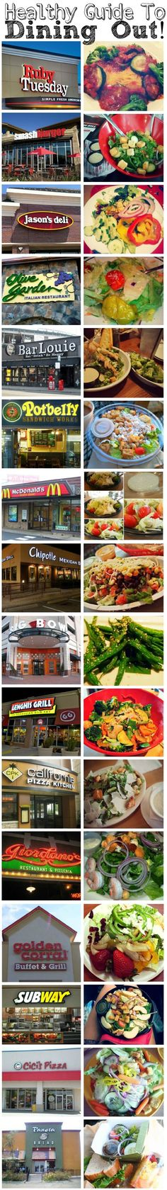 Healthy Guide to Dining out at your favorite restaurants! Tons of healthy options and tips to staying on track!