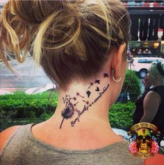 amazing dandelion tattoo on her neck #ink #Youqueen #girly #tattoos