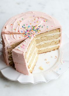 The best vanilla buttercream cake recipe that you can jazz up with a little natural pink food coloring in time for Valentines Day. Includes baking tips on how to bake the best cake. Slow Cooker Desserts, Just Desserts, Delicious Desserts, Dessert Recipes, Healthy Desserts, Cupcakes, Cupcake Cakes, Vanilla Bean Cakes, Vanilla Buttercream