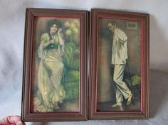 SOLD....Pair Circa 1909 Edwardian Prints of Lovers on the Telephone