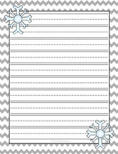 Winter Snow Lined Writing Paper! Larger lines for little writers! Kindergarten Writing, Teaching Writing, Writing Activities, Winter Activities, Classroom Activities, Literacy, Winter Fun, Winter Theme, Winter Snow