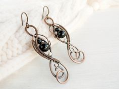Black and White eaarings   Wire jewelry  Black by UrsulaJewelry, $45.00