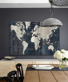 Navy blue rustic world map print old world map indigo cobalt blue blue old world map gallery wrapped canvas by icanvas gumiabroncs Image collections