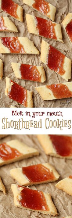 Melt in your mouth Shortbread Cookie logs with a buttery base, filled with your favorite jam preserve served up in bite-sized slices! The Perfect Christmas Cookies or for family gatherings, potlucks, cookie exchanges, or just the perfect thumbprint cookie!  via @2creatememories