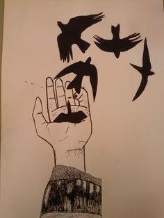 Hand. Tinta china.