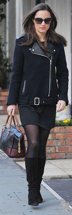 Who made  Pippa Middleton's black jacket, black sunglasses, and and two tone handbag?