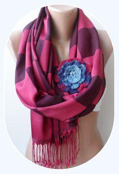 Burgundy shawls with rose Plaid pattern scarf by elegancescarf, $21.00