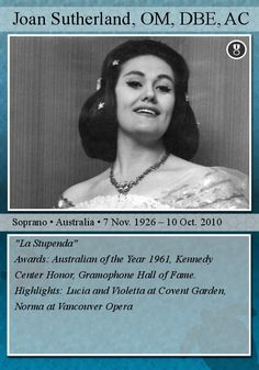 Opera Trading Cards : Photo Joan Sutherland, Conductors, Call Her, Classical Music, Trading Cards, Are You The One, Legends, Singer, Shit Happens