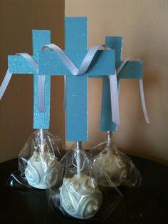 1st Holy Communion Cross Cake Pops..but in white & lavendar