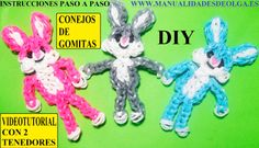 COMO HACER UN CONEJO DE GOMITAS (LIGAS) FIGURA- CHARMS CON DOS TENEDORES...