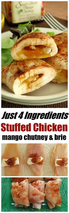 Stuffed Chicken with Mango Chutney and Brie is baked in the oven. It has just 4 ingredients and is a family favorite! Gluten-free