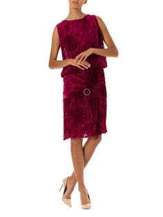 45105f11c9a 1920s Burnout Silk Velvet Drop Waist Pink Flapper Dress with Crystal Buckle  SIZE  M