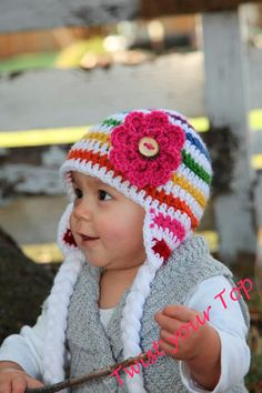 Crochet Rainbow Hat with Ear Flaps Braids and by Twistyourtop, $25.00