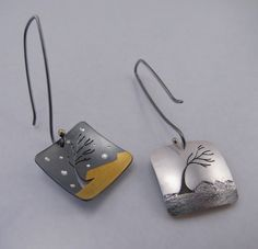 "Reversible Earrings | Michelle Throne of Sidhe Designs. ""Windy Tree"". Fine silver, 24k gold foil, sterling silver and 18k gold."
