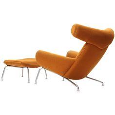 Hans J. Wegner, Ox Chair and Ottoman, 1960 Ox Chair, Chair And Ottoman, Mid Century Modern Design, Mid Century Modern Furniture, Midcentury Modern, Cool Furniture, Furniture Design, Modern Chairs, Modern Lounge