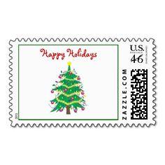 Christmas tree - happy holidays postage