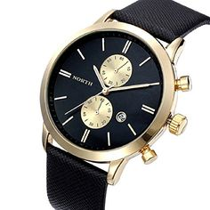 Shensee Simple Vogue Men Casual Waterproof Date Leather Military Watch Gift Black Gold - Jewelry For Her