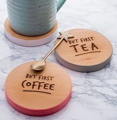 'But First Coffee' Coloured Wooden Coaster. Discover thoughtful, personal and wonderfully unique gifts for her this Christmas.
